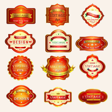 Glossy red vintage and retro badges design with sample text, create by vector Vector