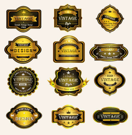 Glossy Glossy black goldvintage and retro badges design with sample text, create by vector Vector