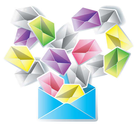e mail: Digital mail spreading to an entire network isolated background, create by vector