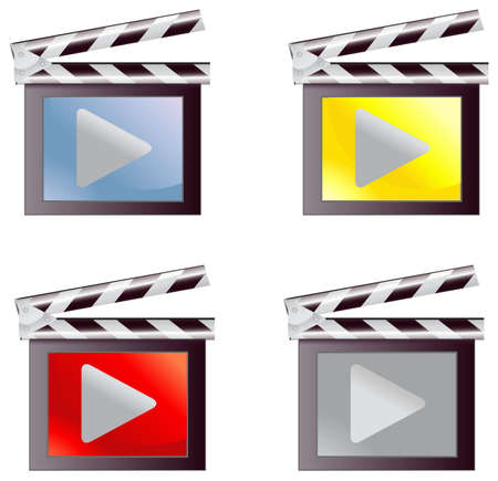 producer: Digital movie media icon set in isolated background, create by vector Illustration