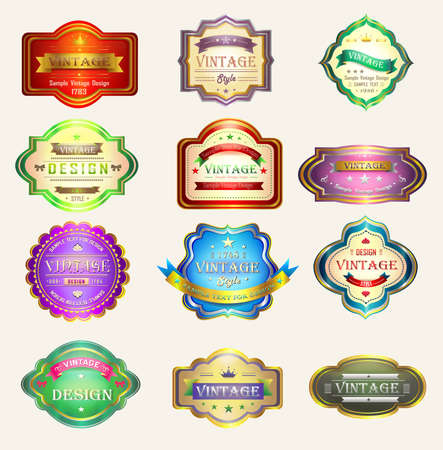 promote: Colorful glossy vintage and retro badges design with sample text, create by vector