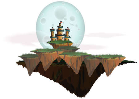 hill distant: Fantasy landscape with castle on a floating isle in islolated background, create by vector Illustration
