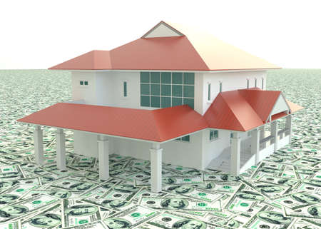 Red modern 3D house on the pile of money  photo
