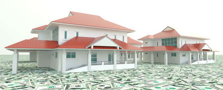 Red modern 3D houses on the pile of money  photo