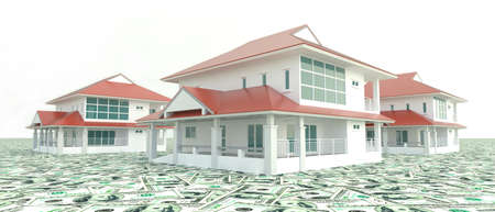 Red modern 3D houses on the pile of money
