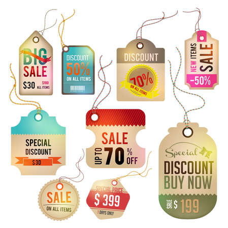 Modern glossy brown tag and labels design with sample text Vector