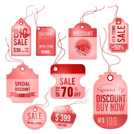 Modern glossy red tag and labels design with sample text Vector