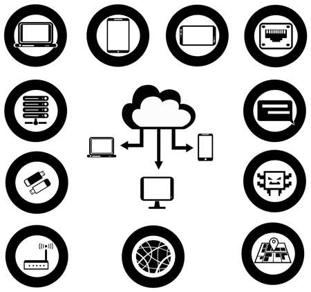 Various IT and network media icon and app collection Vector