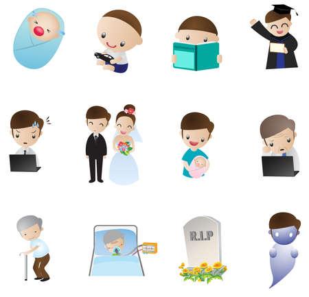 valores morales: Icono de la vida humana, desde el nacimiento hasta la muerte que representa la verdad de la vida