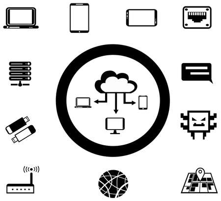 network and media: Various IT and network media icon and app collection set 1, create by vector