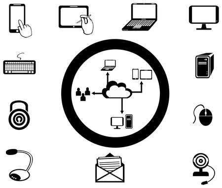 network and media: Various IT and network media icon and app collection set 2, create by vector