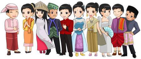 東南アジアの異なる人種や ASEAN 組織ベクトルを表すかわいい漫画イラスト デザインの文化と人々 のグループ