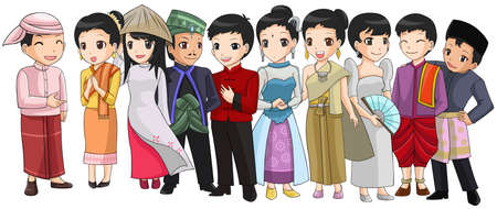 thai women: Group of Southeast Asia people with different race and culture in cute cartoon illustration design representing ASEAN organization  vector