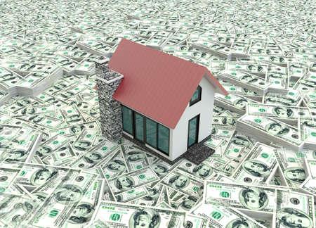 小さな赤い現代 3 D 杭上住宅の不動産ビジネスは孤立したバック グラウンドでお金の