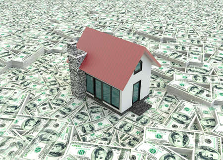 Little red modern 3D houses on the pile of money in isolated background  It is a real estate business  photo