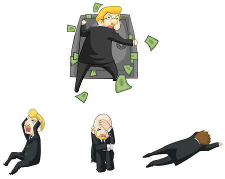 stingy: Businessman funny reaction in financial crisis situation cartoon icon, create by vector Illustration