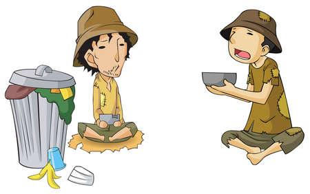 hombre pobre: Pobre conjunto mendigo icono de la colección, a crear por el vector Vectores