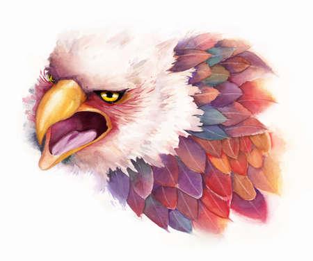 Vector watercolor eagle in fantasy style Vector