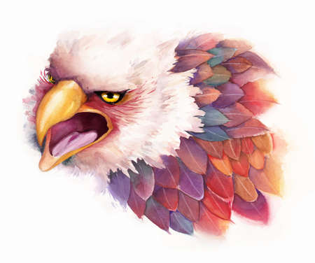 natural color: Vector watercolor eagle in fantasy style Illustration