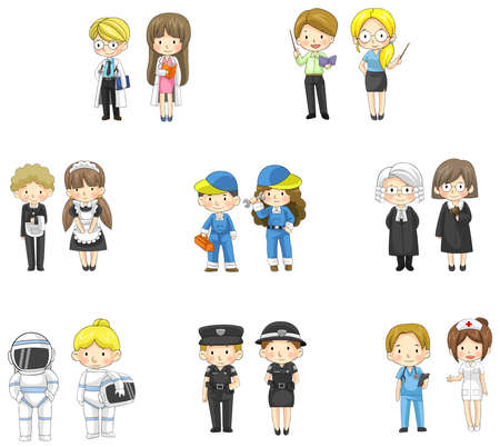 policewoman: Cartoon characters in both man and woman in various professional jobs, create by vector