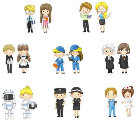 femme policier: Personnages de dessins anim�s � la fois l'homme et la femme dans divers emplois professionnels, cr�er par le vecteur Illustration