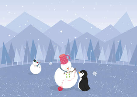 Winter landscape with penguin and cute snowman, create by vector Vector