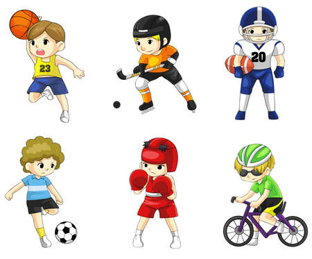 cartoon school: Cartoon male athlete icon in various type of sports, create by vector