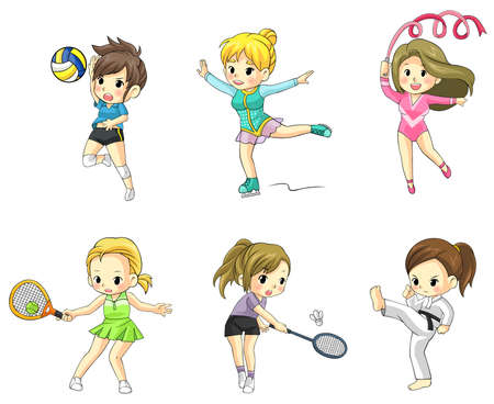 girl kick: Cartoon athlete girls icon in various type of sports, create by vector Illustration