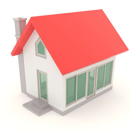Red toy house in 3D design in isolated background