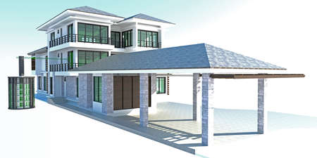 contemporary design: Future residential house with huge outer battery energy source in 3D design
