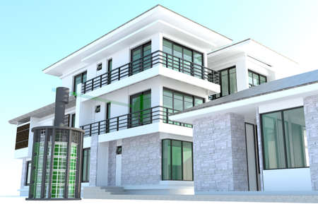 simulation: Future residential house with huge outer battery energy source in 3D design