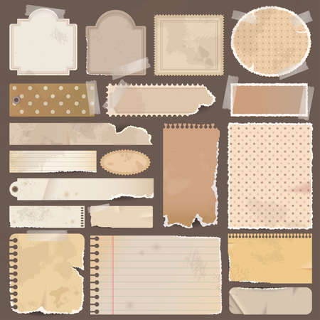 Various brown old remnant pieces of paper, scrapbook, and note board, create by vector Vector