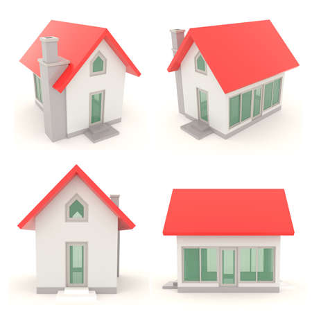 Red 3D house icons in different angle with isolated background - set 1 photo