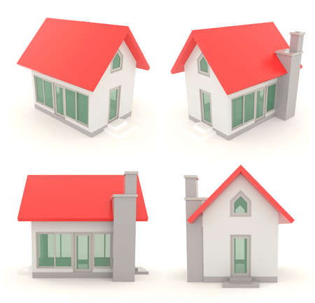 gable: Red 3D house icons in different angle with isolated background - set 2