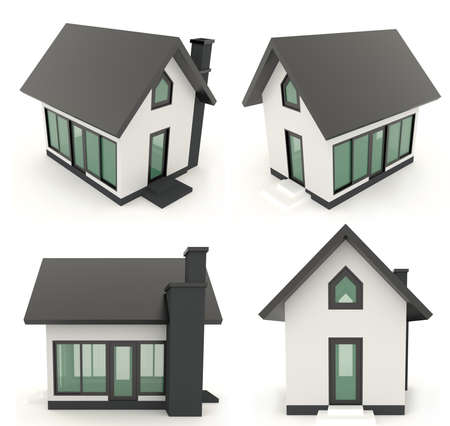 gable: Black 3D house icons in different angle with isolated background Stock Photo