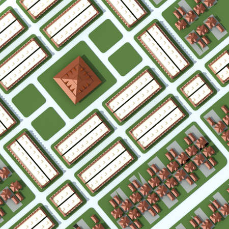 bird 's eye view: An 3D aerial view of the city with houses and buildings seeing the roofs on the top Stock Photo