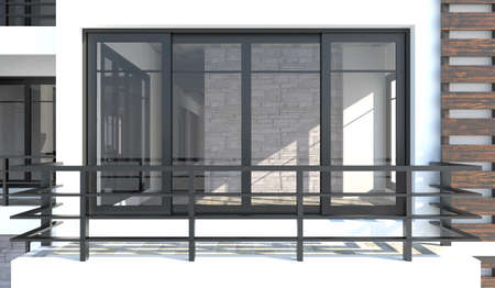 balcony view: 3D room from the outdoor view in front of the balcony  It is both interior and exterior design   Stock Photo
