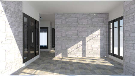 residential zone: 3D interior of the room inside a modern brick house with sunlighting shinning