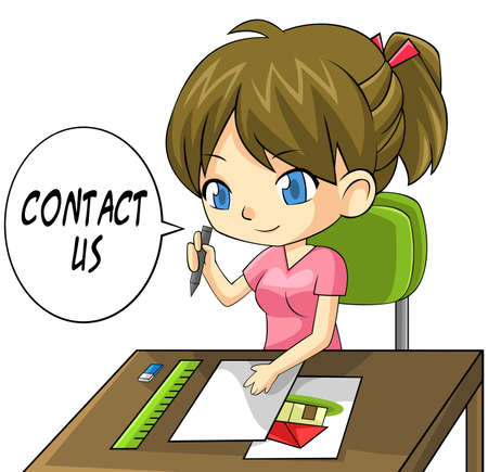 Cartoon girl artist writing a contact us paper board, create by vector Vector