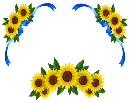 Sunflower decoration icon border ribbon, create by vector Vector