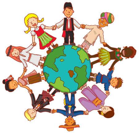 Amistad más allá de la frontera con gente de todo el mundo la cultura se dan la mano en un círculo. Es un concepto de paz, crear por el vector