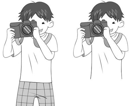 stalker: Black and white sketch of a cartoon guy character photographing woth his DSLR camera, create by vector