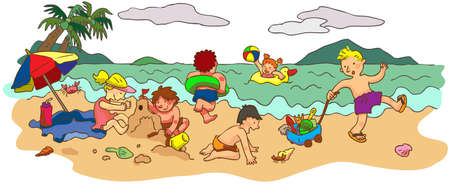 Group of children playing on the beach in summer holiday, create by vector