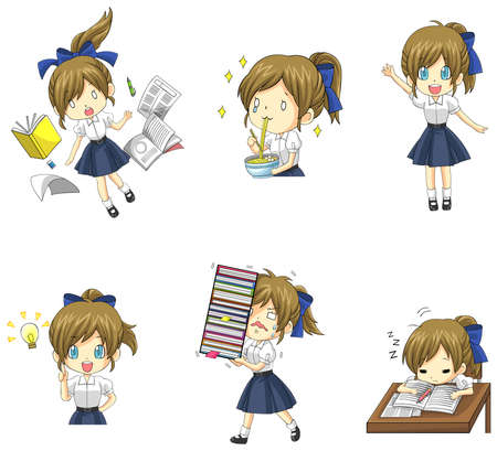 friends eating: Cute Thai schoolgirl student in various activities and emotion icon set 1, create by vector