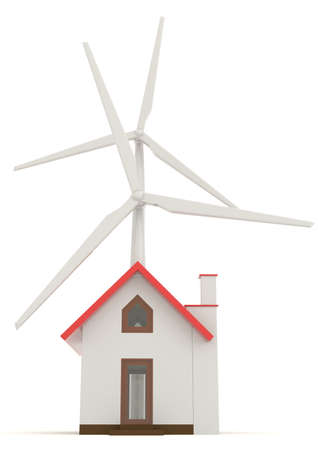 home products: 3D wind turbine providing clean energy for a little house in front view with white background