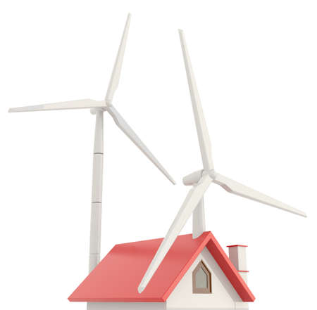 gable: 3D wind turbine providing clean energy into a little house roof a little house with white background