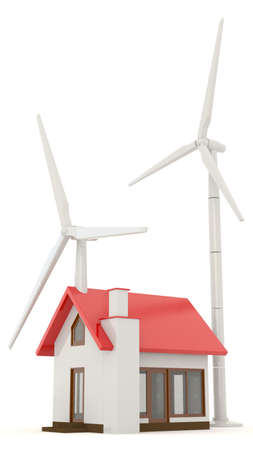 clean energy: 3D wind turbine providing clean energy for a little house with white background