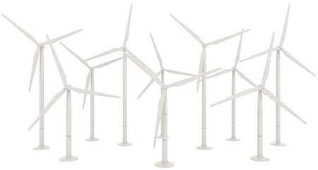 wind wheel: 3D wind turbine for clean energy in white background