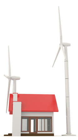 providing: 3D wind turbine providing clean energy for a little house in side view with white background