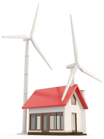 clean energy: 3D wind turbine providing clean energy for a little house with white background  Stock Photo